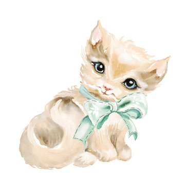 Cute watercolor blue eyed kitten with tied bow