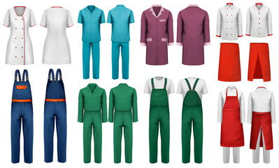 Set of overalls with worker and medical clothes. Design template. Vector illustration.