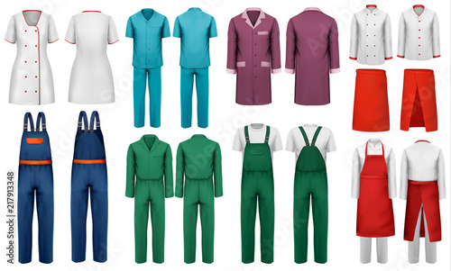 Set Of Overalls With Worker And Medical Clothes Design Template Vector Illustration