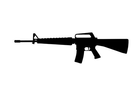M16 military rifle. Silhouette