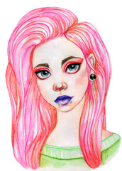 Girl watercolor illustration, pink hair
