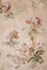 Rocznika tło z różami - Kwiecista ilustracja - Stara Papierowa tekstura - 217915780