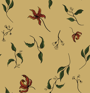 Seamless pattern. Vintage floral illustration. Autumn design, withered flowers, brown, burgundy, red. yellow, green colors.
