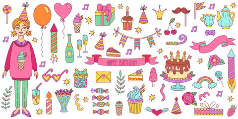 Birthday doodle icons vector set