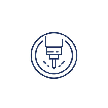 milling machine line icon, vector