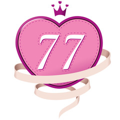 Pink Heart with a Crown, Ribbon and Number 77