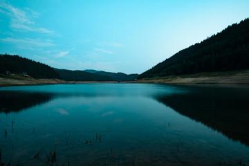 Sunset at mountain  lake