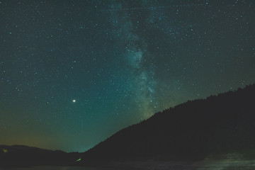 Starry sky with Milky Way above the horizon