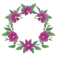 Floral wreath with Clematis Flowers.