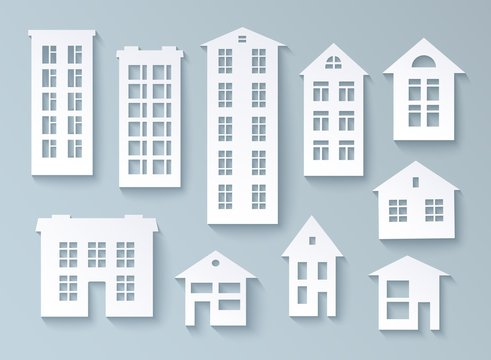 Set of abstract buildings made of paper