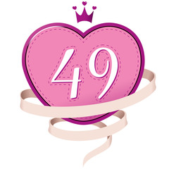 Pink Heart with a Crown, Ribbon and Number 49