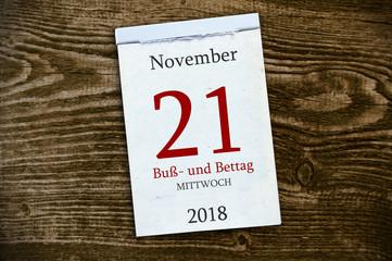 Abreißkalender Kalender mit Buß- und Bettag 2018