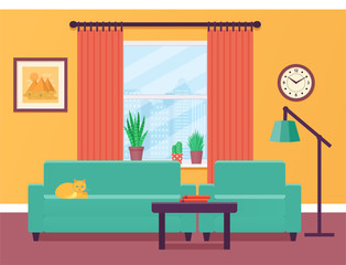 Living room interior with window in flat design. Vector illustration. Colorful background.