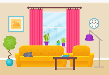 Living room interior. Vector illustration. Lounge with furniture, window, cat. Home background in flat design. Cartoon house equipment.