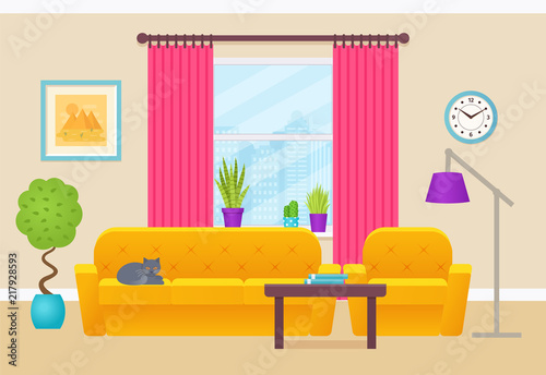 Living Room Interior Vector Illustration Lounge With