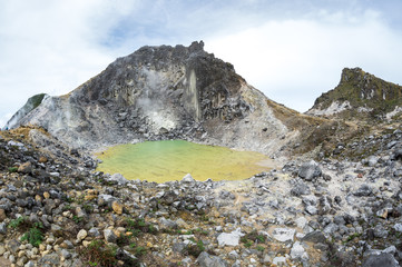 The crater of volcano Sibayak