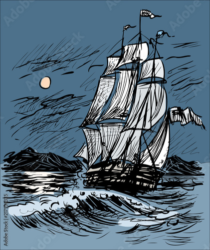 Sketch Of A Sailing Ship In The Night Sea