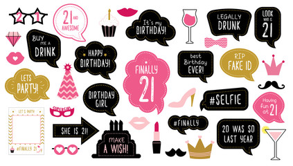 21th birthday party photo booth props set