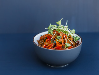 A plate with wok vegetarian noodles with microgreen on the dark background