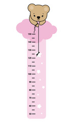 child wall meter. Bear in a cloud catching a star