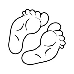 footprint icon outline design isolated on white background