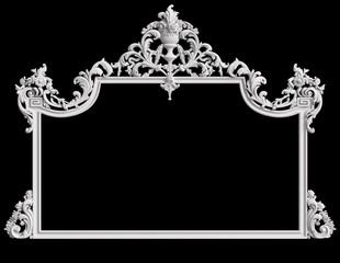 Classic frame with ornament decor isolated on black background