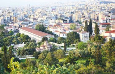 cityscape of Athens Greece as seen from Acropolis - the ancient Stoa of Attalos and an old church view