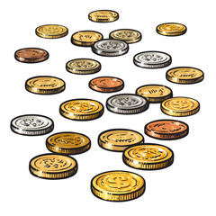 Different coins isolated on white background. Vector