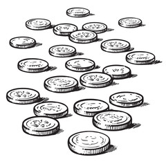 Sketch of coins isolated on white background. Vector