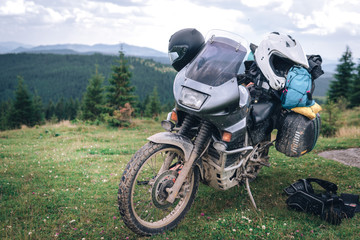 Adventure Motorbike on the top of the mountain. Motorcycle trip. off road Traveling, Lifestyle Travel vacations sport outdoor concept.