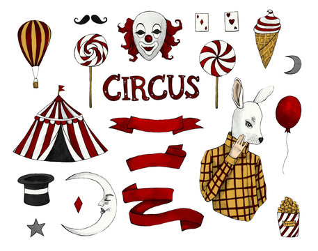 Circus watercolor set on white isolated background. Circus tent, moon, balloon, ribbon, clown, hat, ice cream, popcorn, masked man, lollipops