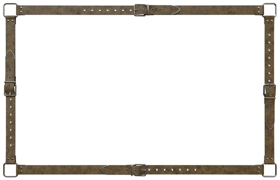 A decorative frame, made of four brown leather belts, with classic chrome buckles and rivets. 3D rendering