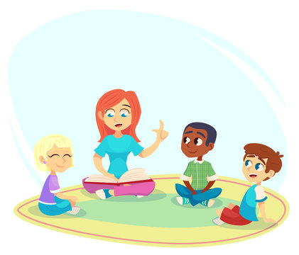 Female teacher read book, children sit on floor in circle and listen to her. Preschool activities and early childhood education. Cartoon vector illustration for poster, website