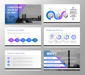 Vector blue and violet presentation template with graphic elements and typography