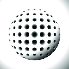 Abstract Black and White Halftone Sphere with Holes. Element for Design Isolated on White Background. 3D Illustration