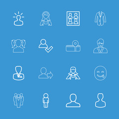 Collection of 16 avatar outline icons