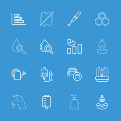 Collection of 16 drop outline icons