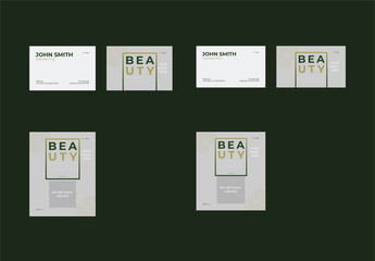 Business Card Layout Set with Green Gradient Box Element