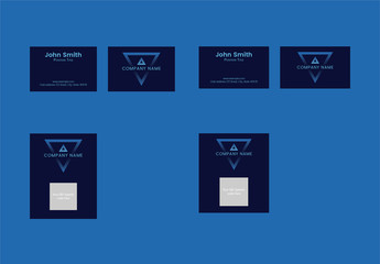Business Card Layout Set with Blue Triangle Element