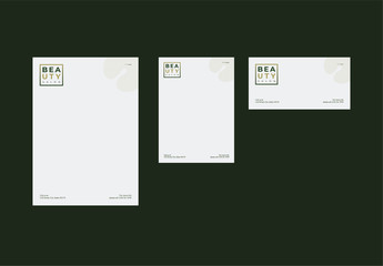 Envelope Layout Set with Green Gradient Box Element