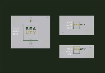 Social Media Cover and Post Layout Set with Green Gradient Element
