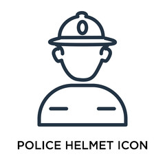 Police helmet icon vector isolated on white background, Police helmet sign , thin elements or linear logo design in outline style
