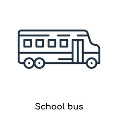 School bus icon vector isolated on white background, School bus sign , thin symbols or lined elements in outline style