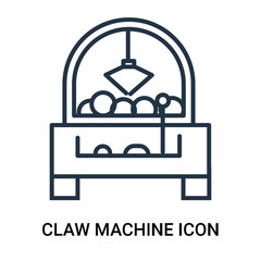 Claw machine icon vector isolated on white background, Claw machine sign , outline linear symbol or thin lined pictogram