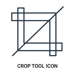 Crop tool icon vector isolated on white background, Crop tool sign , outline linear symbol or line shape