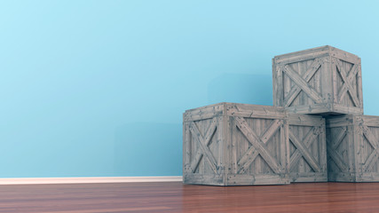 wooden crate on floor in room. 3d illustration
