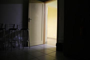 dark room light on the door.