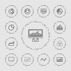 Collection of 13 graph outline icons