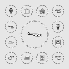 Collection of 13 journey outline icons