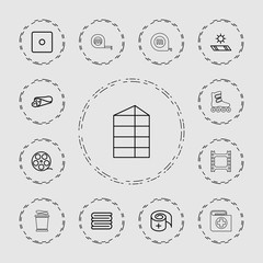 Collection of 13 roll outline icons